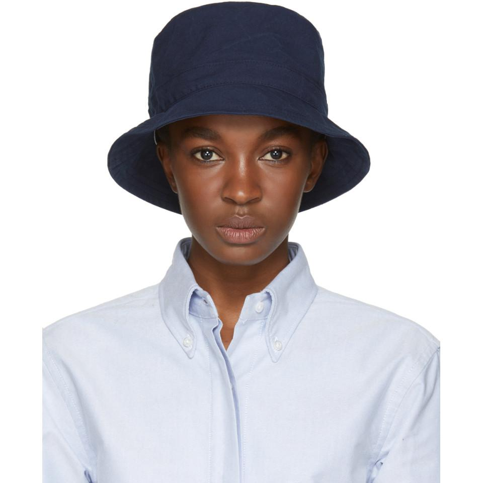 1f2d80f462e Thom Browne Navy Lined Bucket Hat in Blue - Lyst