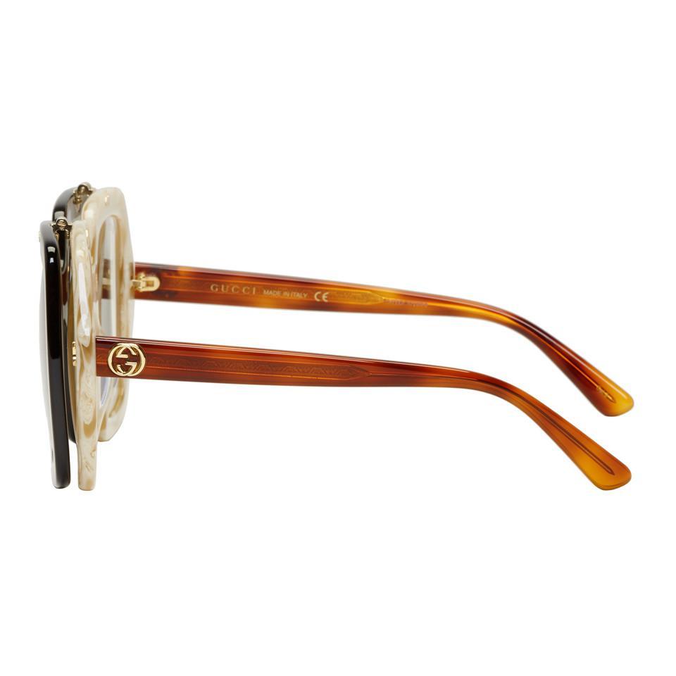a9605a3bc3 Gucci 63mm Open Temple Sunglasses Source · Lyst Gucci Tortoiseshell  Oversized Square Flip up Sunglasses