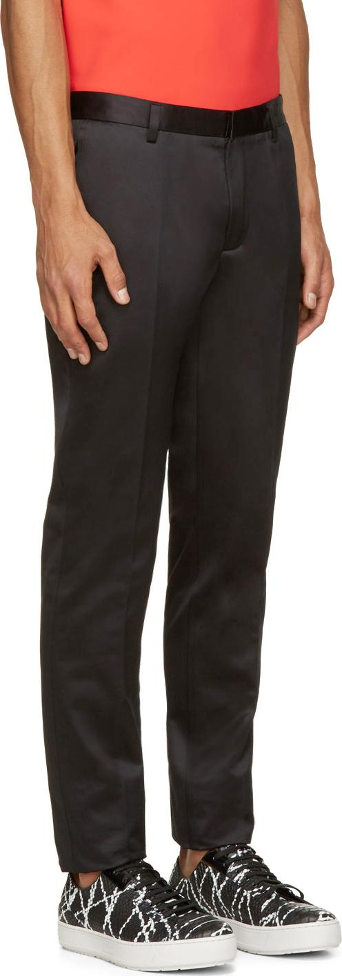 Calvin klein Black Cotton Satin Exact Trousers in Black for Men | Lyst