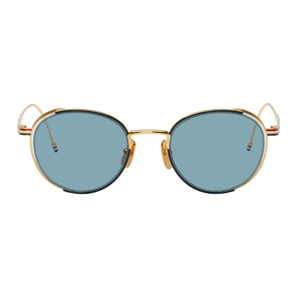 69b075dcff0f Thom Browne Navy And Gold Tb-106 Sunglasses for Men - Lyst