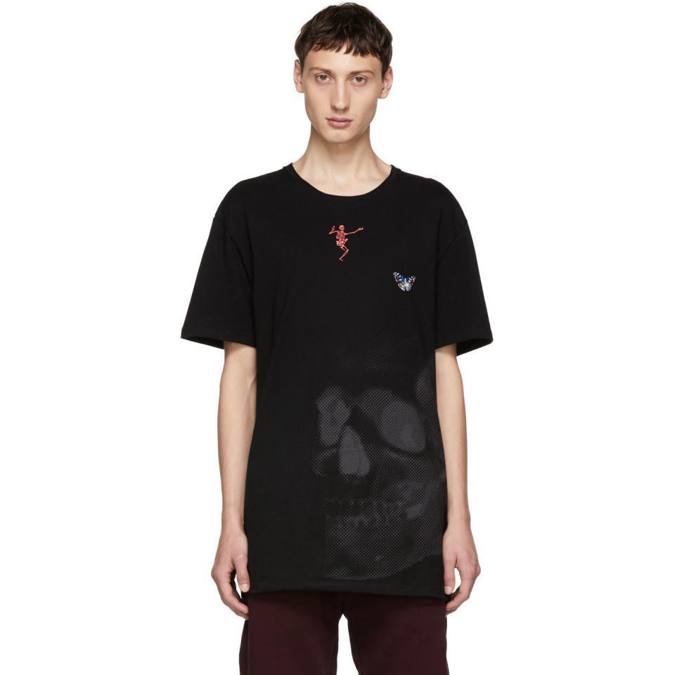 Black Skull Mix Media T-Shirt Discounts Discount Visit IURKPICI