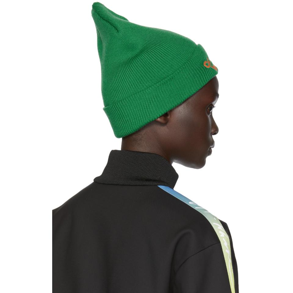 146c169355c Off-White c o Virgil Abloh Green Bubble Font Beanie in Green - Lyst