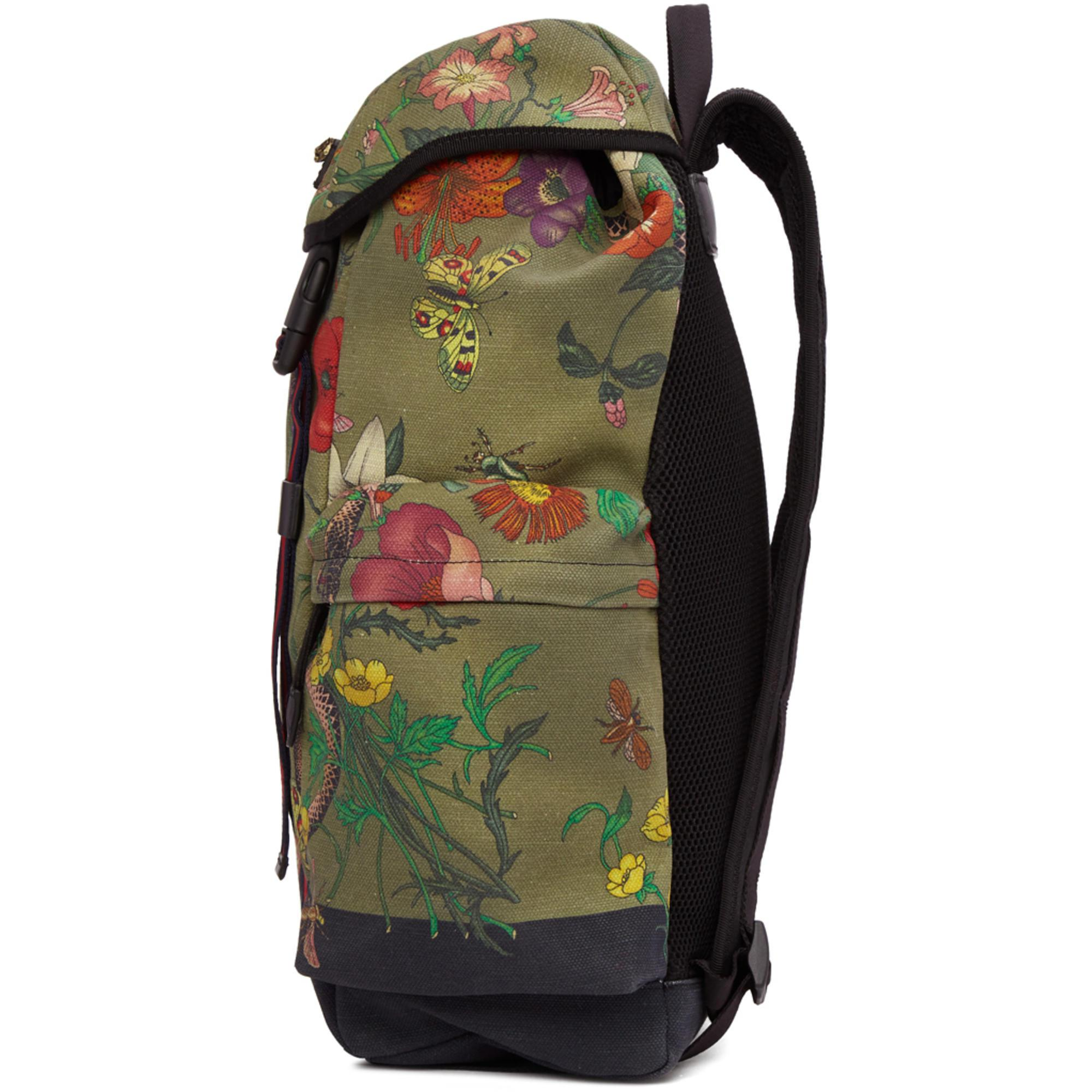 6a1c73166f7f Lyst - Gucci Multicolor Canvas Flora Snake Print Backpack for Men