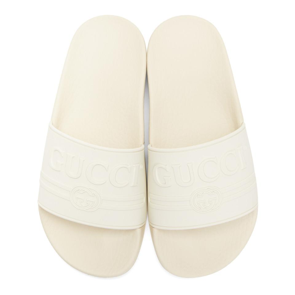 521a8661802 Gucci White Pursuit Pool Slides in White for Men - Save 33% - Lyst