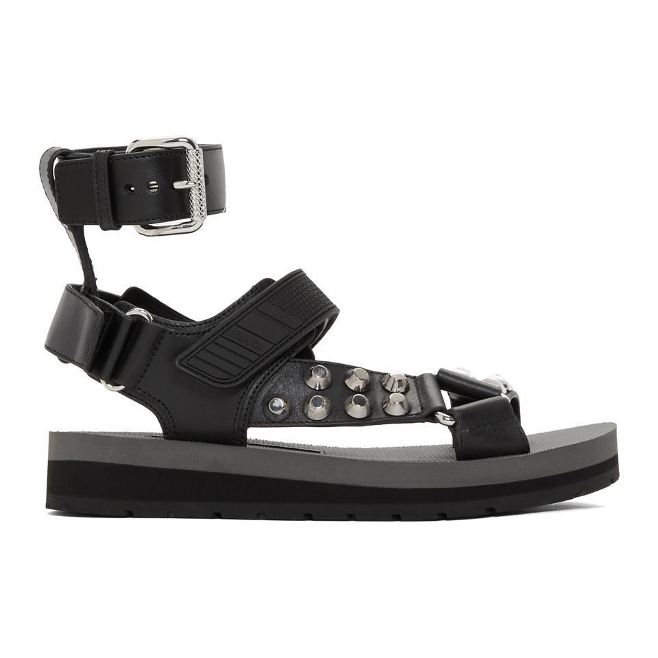 so cheap separation shoes best quality Sandales cloutees a bride Velcro noires Prada en coloris Black