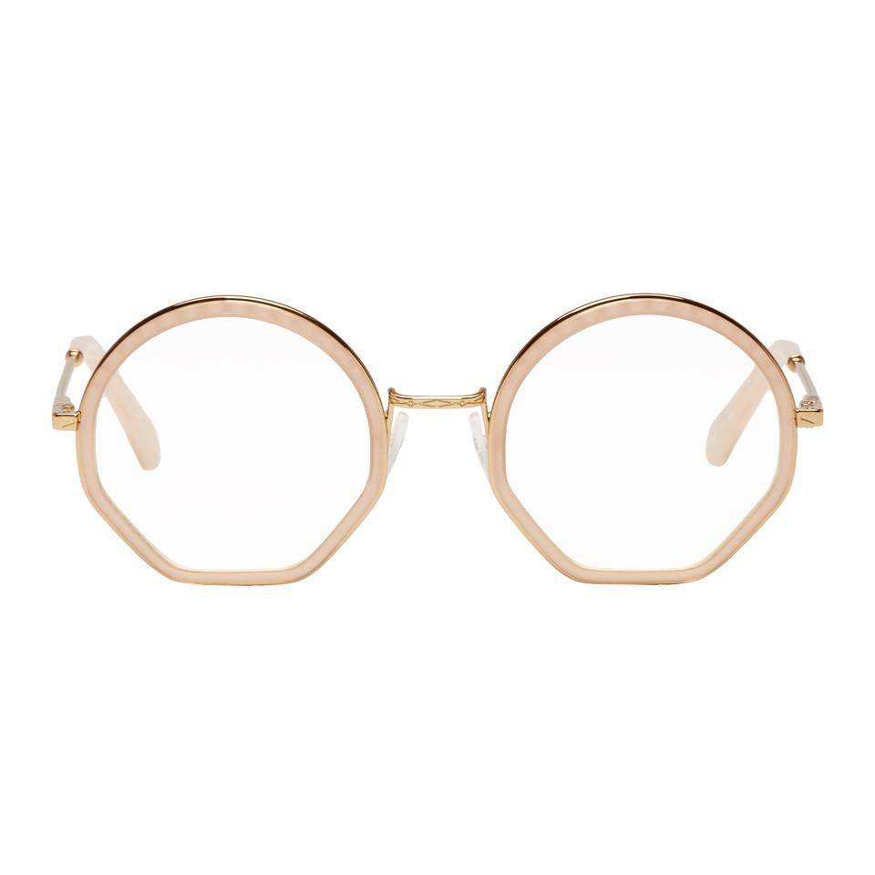 2b6b24dde2e Lyst chloé gold and pink tilda glasses in metallic jpg 960x960 Chloe gold  optical frame
