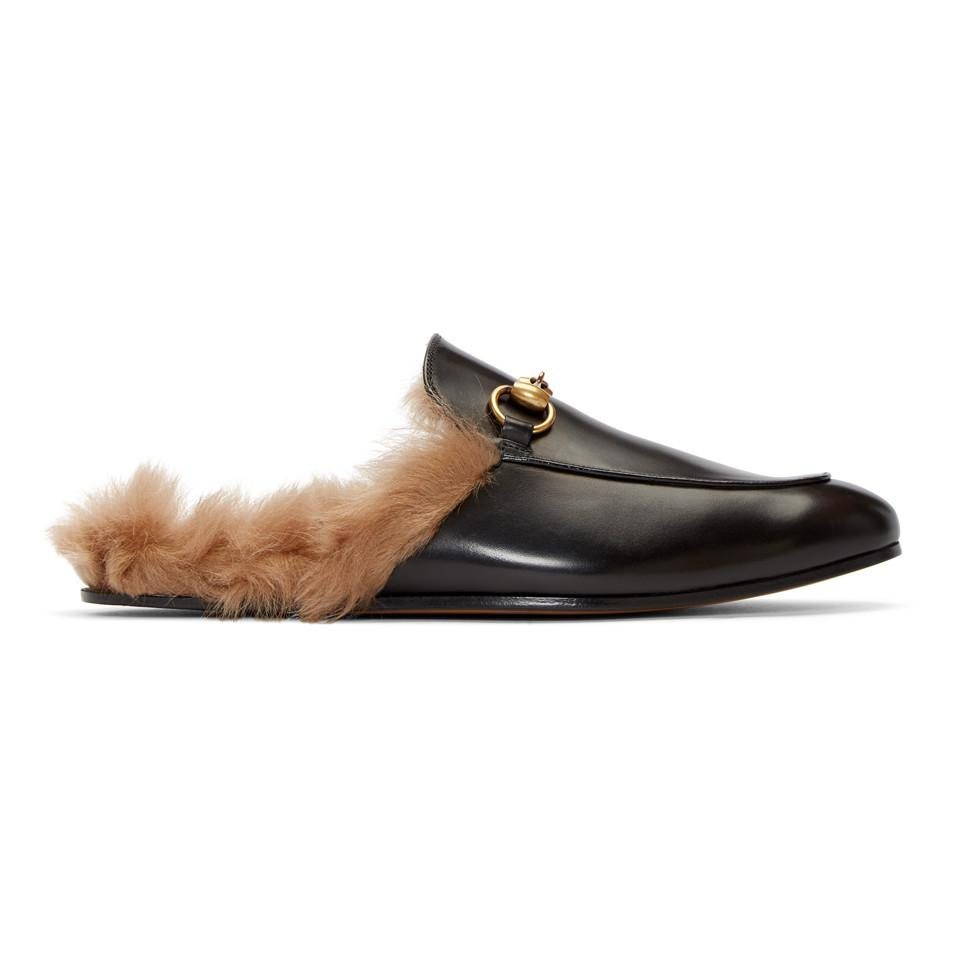 b31eed27b Lyst - Gucci Black Fur Princetown Slippers in Black for Men - Save ...