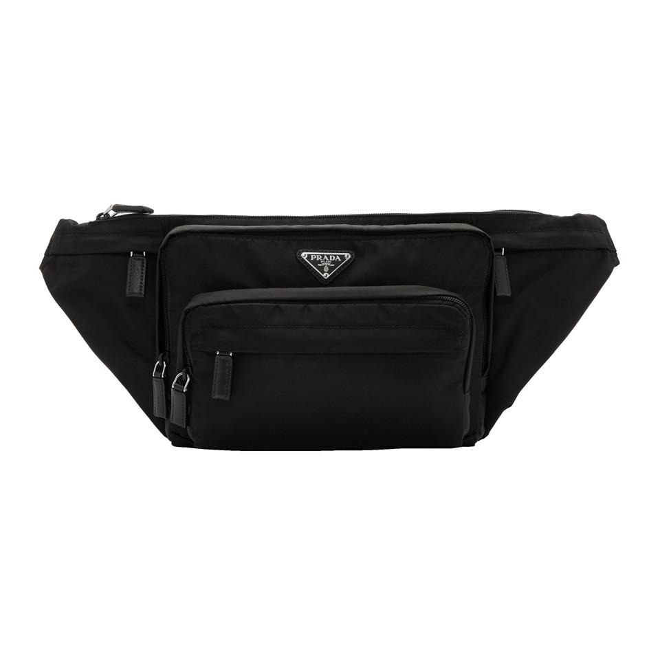 85104a86ebcea0 Prada - Black Small Nylon Logo Fanny Pack for Men - Lyst. View fullscreen
