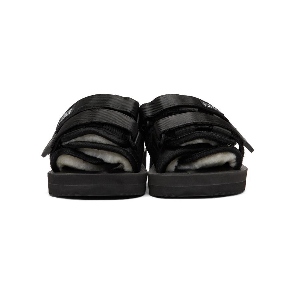 456162800074 Suicoke - Black Calf-hair Moto-m Sandals for Men - Lyst. View fullscreen