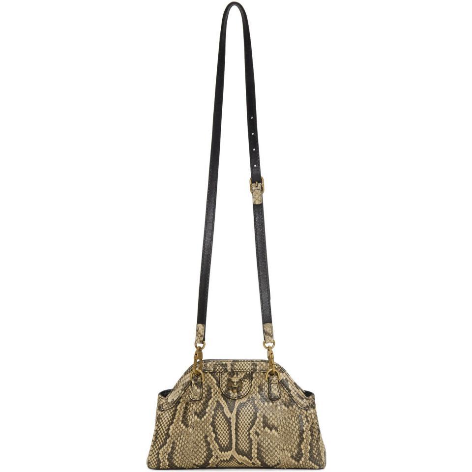 0eccc841a4dd Lyst - Gucci Yellow Python Rebelle Shoulder Bag