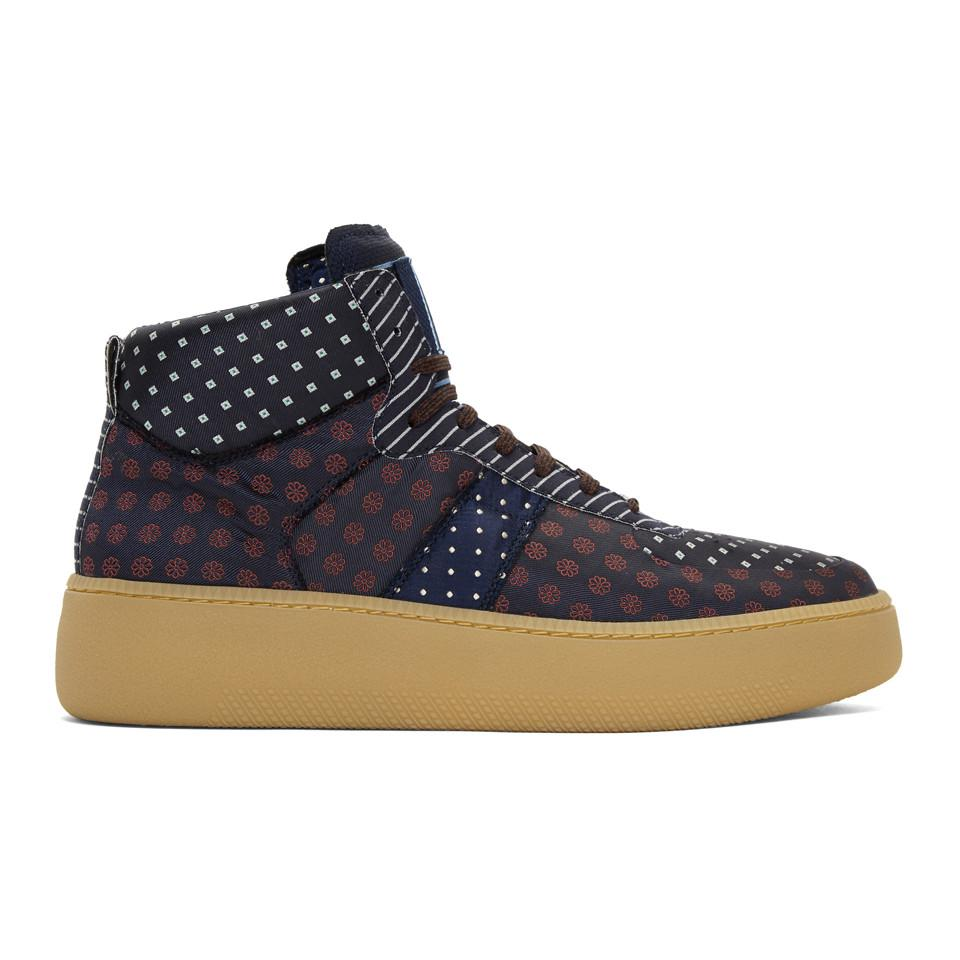 Maison Margiela Navy Mixed Print Sneakers CrNfe1R