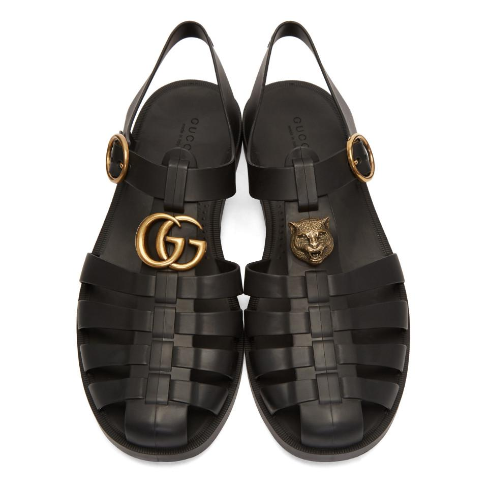 4493cb0ee Gucci - Black Rubber Buckle Strap Sandals for Men - Lyst. View fullscreen