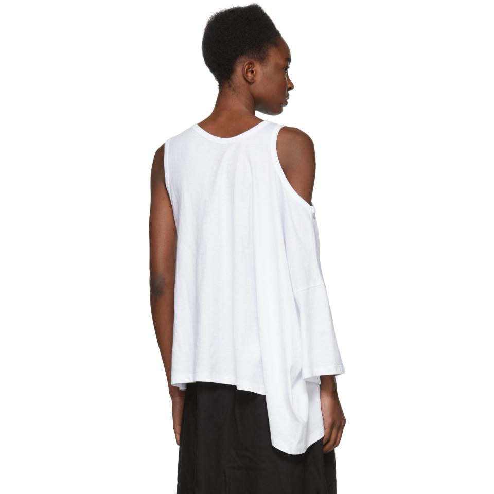 White Cold Shoulder T-Shirt Ann Demeulemeester