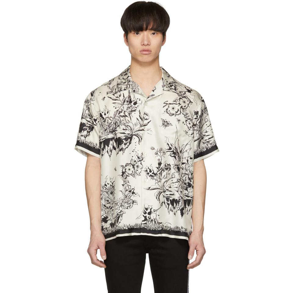 78a221da Givenchy White And Black Monster Silk Hawaiian Shirt in Black for ...