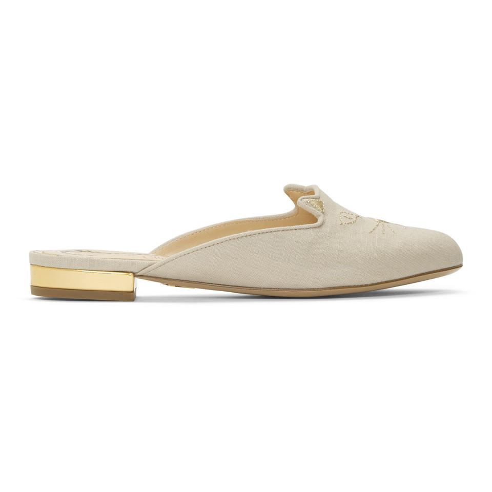 Charlotte Olympia Off- Linen Kitty Slippers kv6ZNbW