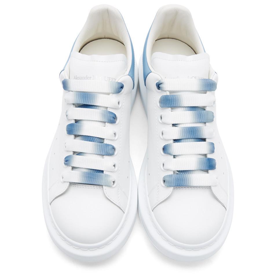 Lyst Alexander McQueen White And Blue Degrade Oversized