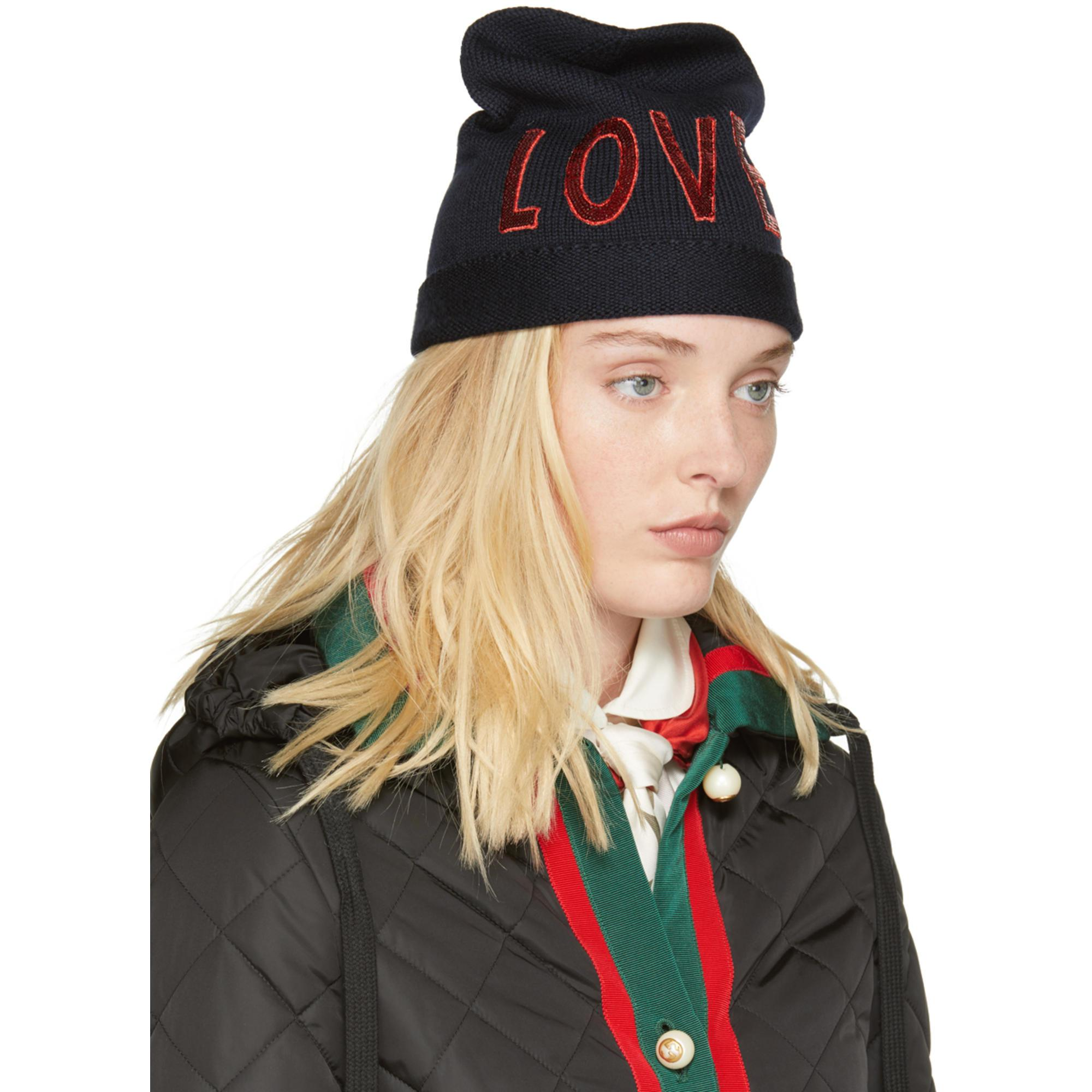 986d01903 Gucci Navy Wool 'loved' Beanie in Blue - Lyst