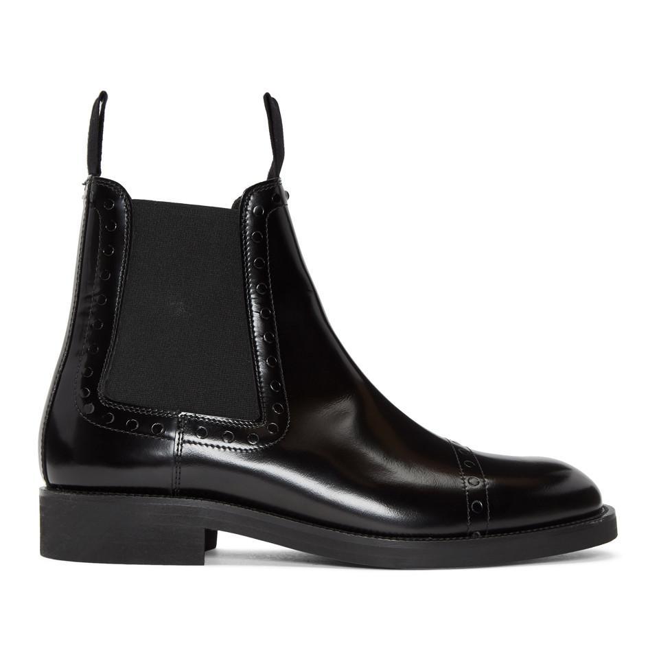 Prada Black Unfinished Brogueing Chelsea Boots lM3BAVX
