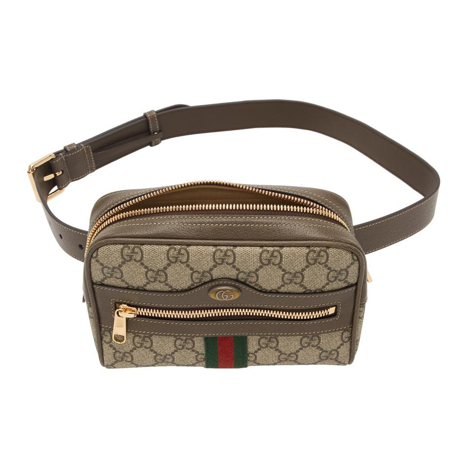 51e196c3f712 Lyst - Gucci Brown Small GG Supreme Ophidia Belt Bag in Brown - Save ...
