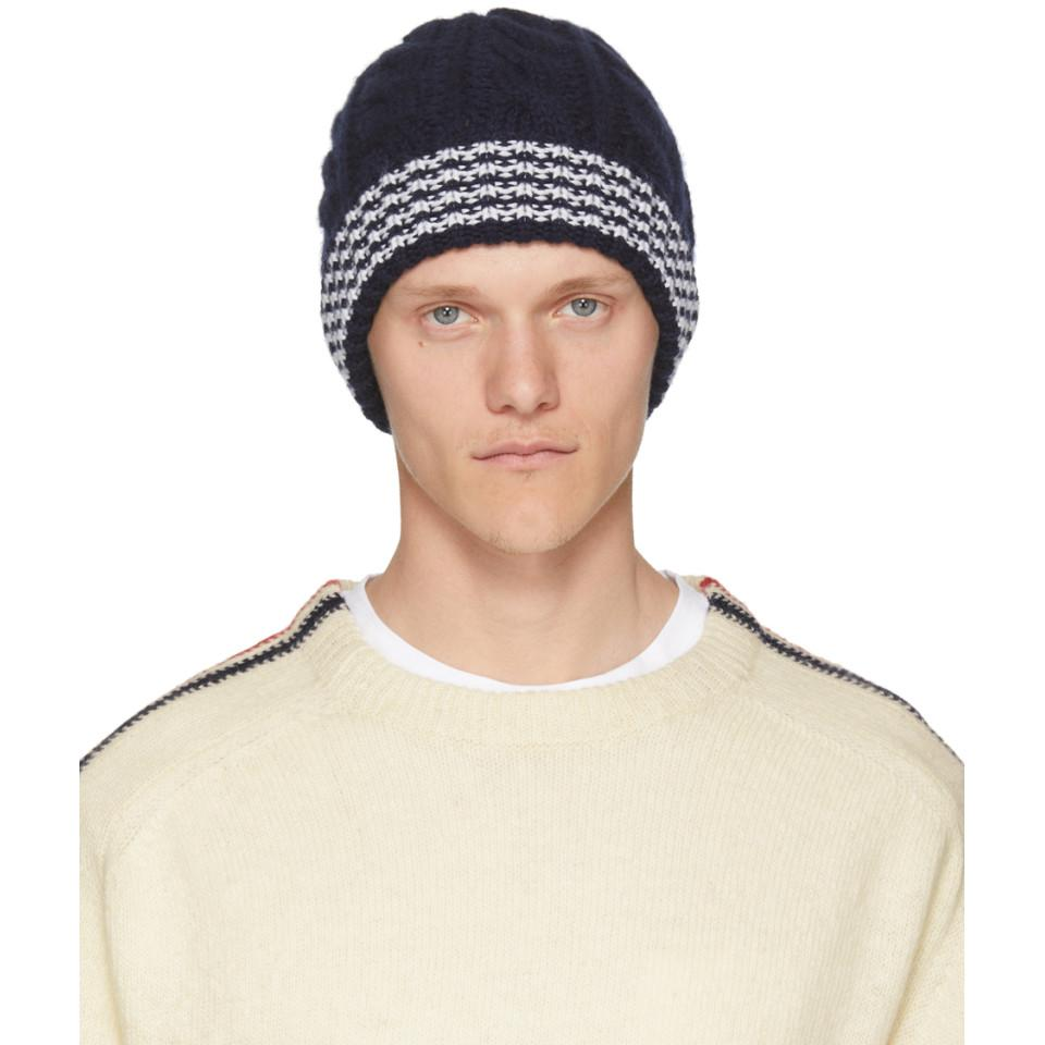 Grey Cashmere Cable Knit Four Bar Beanie Thom Browne vDVJSZ