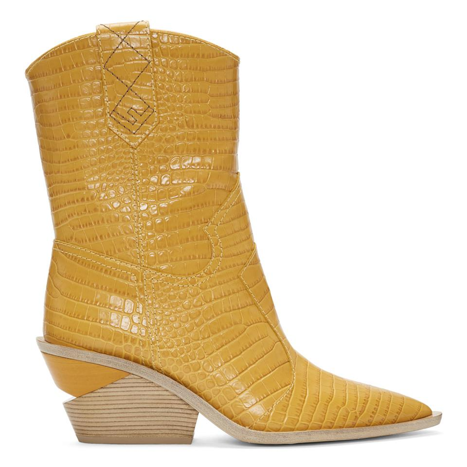 7ab26dc4a25 Lyst - Fendi Yellow Croc Cowboy Boots in Yellow