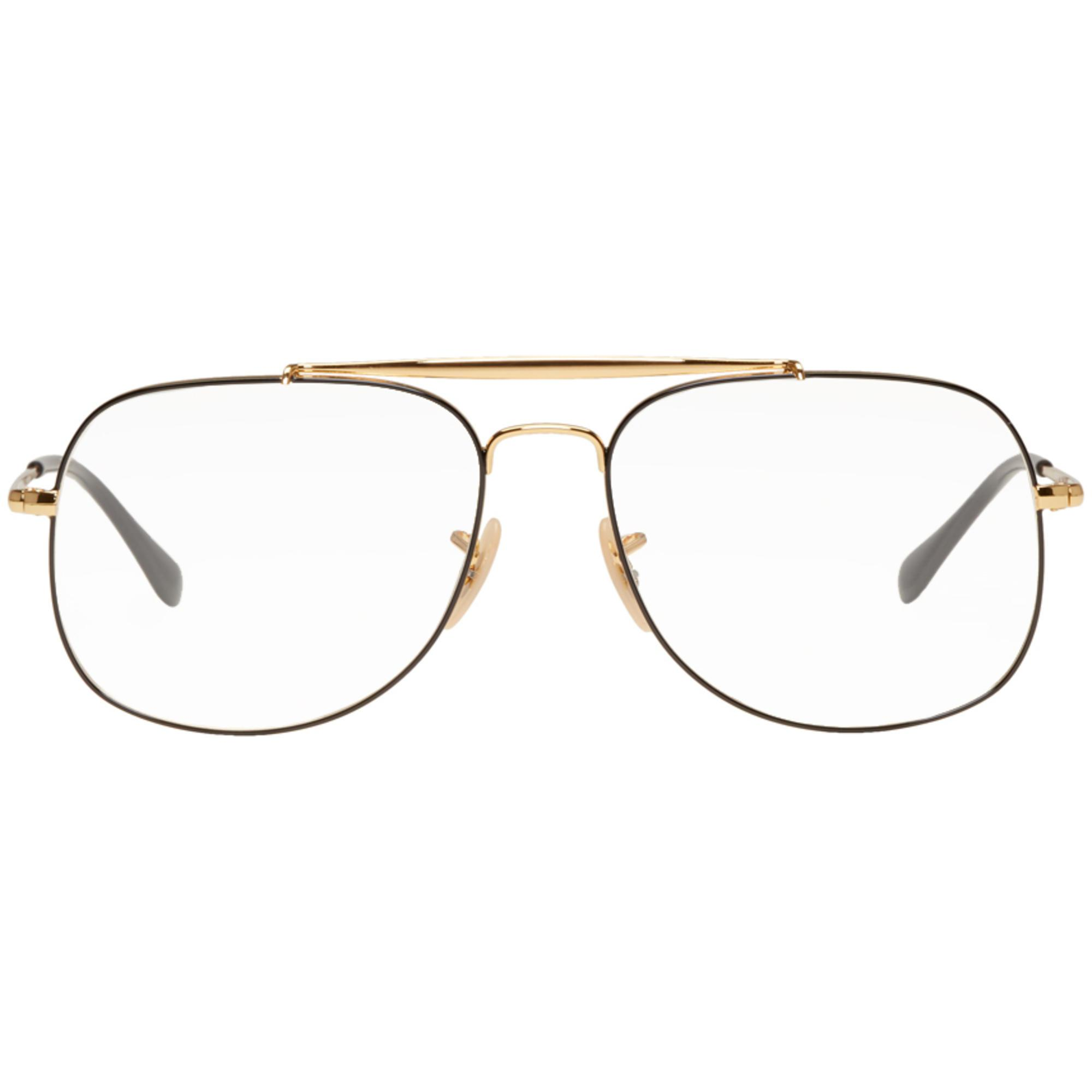 lyst ray ban gold and black icons glasses in metallic for men Pilot Aviator Sunglasses gallery