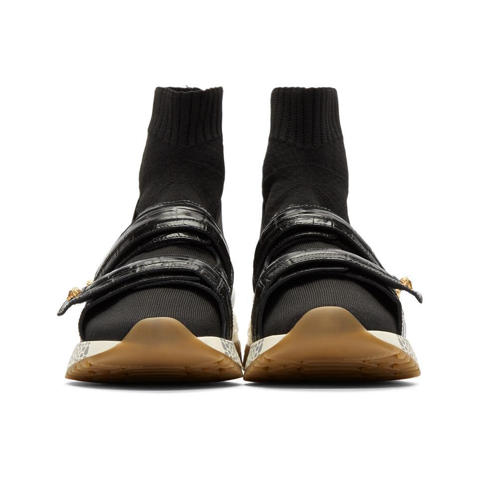 Black Croc Medusa Sock High-Top Sneakers Versace GNgl7MYHjn