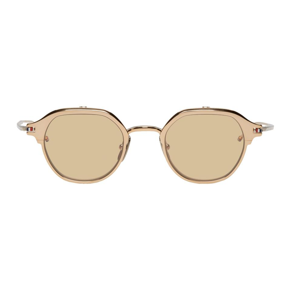 a44beb2b5593 Thom Browne. Men s Metallic Gold And Silver Tbs812 Flip-up Sunglasses