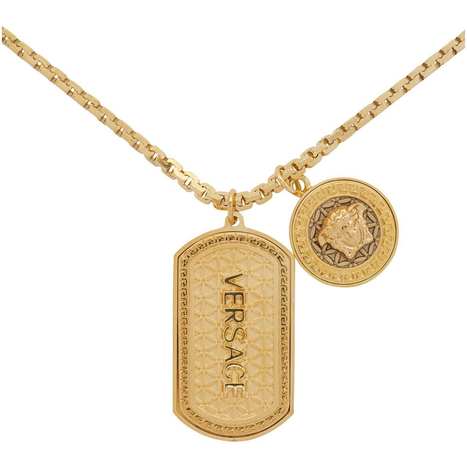 Lyst - Versace Gold Dog Tag Necklace in Metallic for Men 6ffc4d1b29d