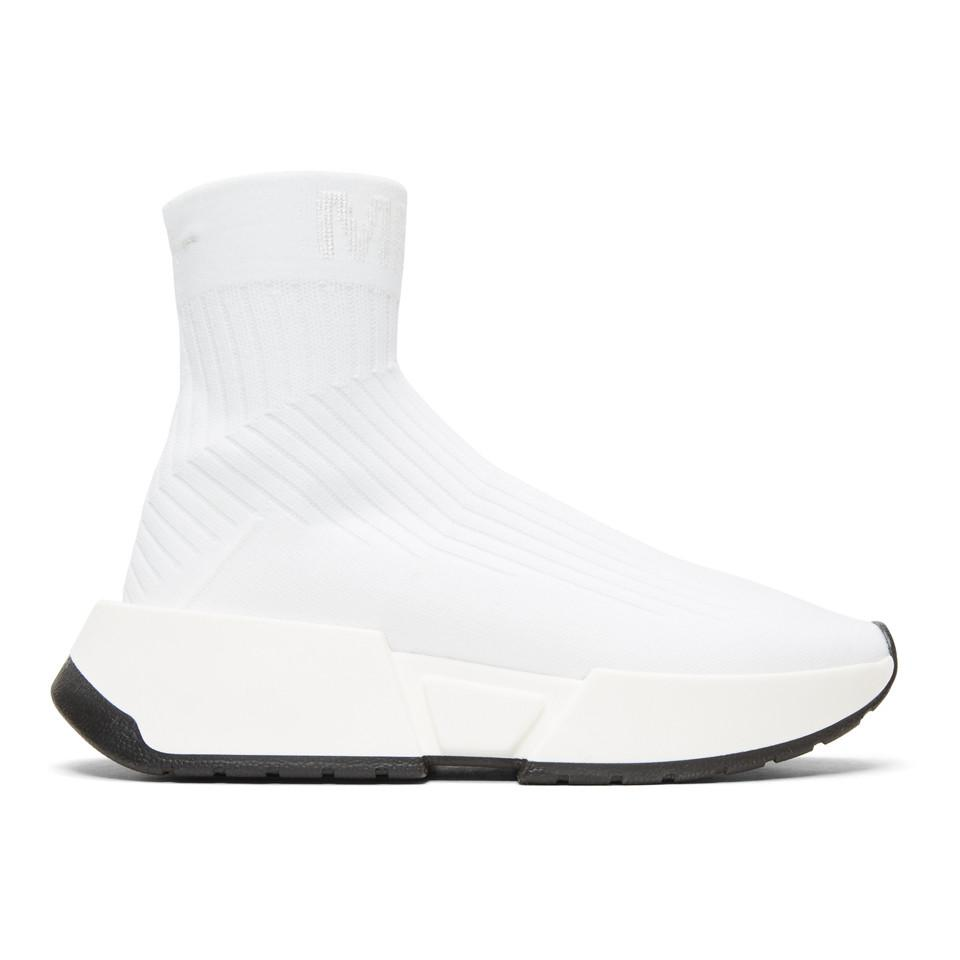 MM6 Maison Martin Margiela White Sock High-Top Sneakers ggdfr2rjA