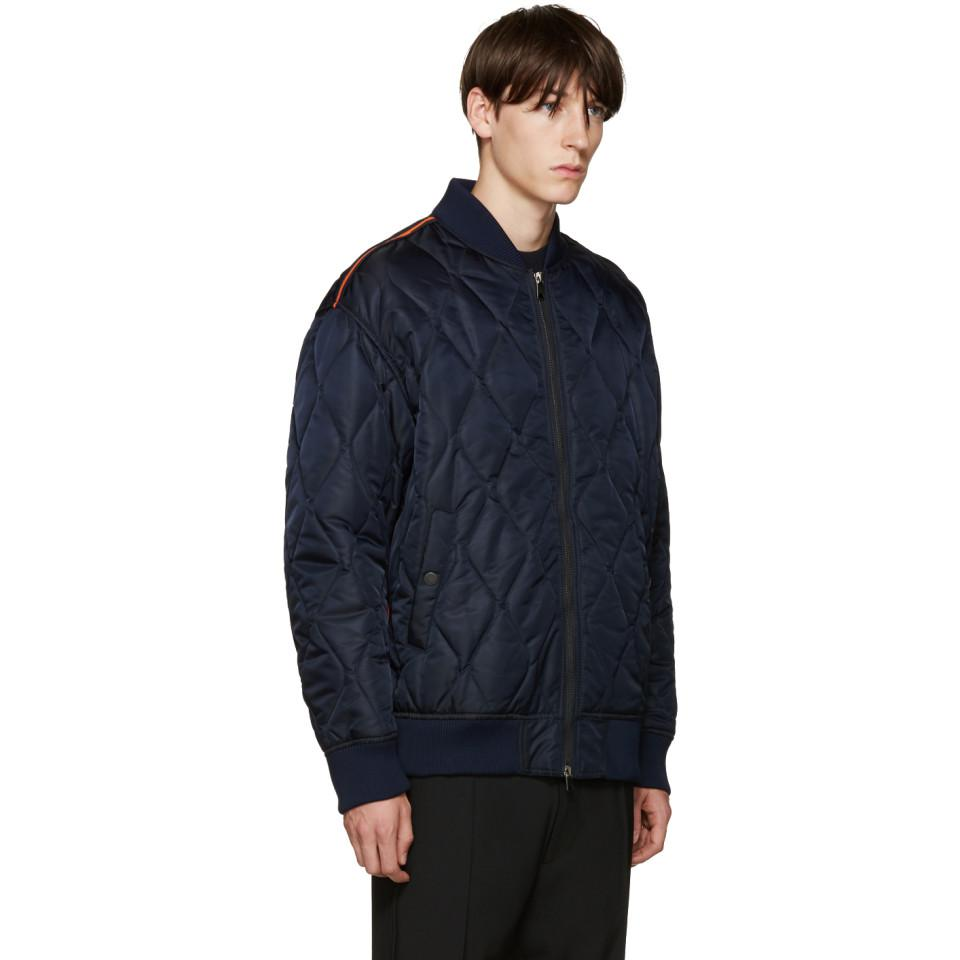 Lyst - Diesel Black Gold Navy Nylon Quilted Bomber Jacket ...