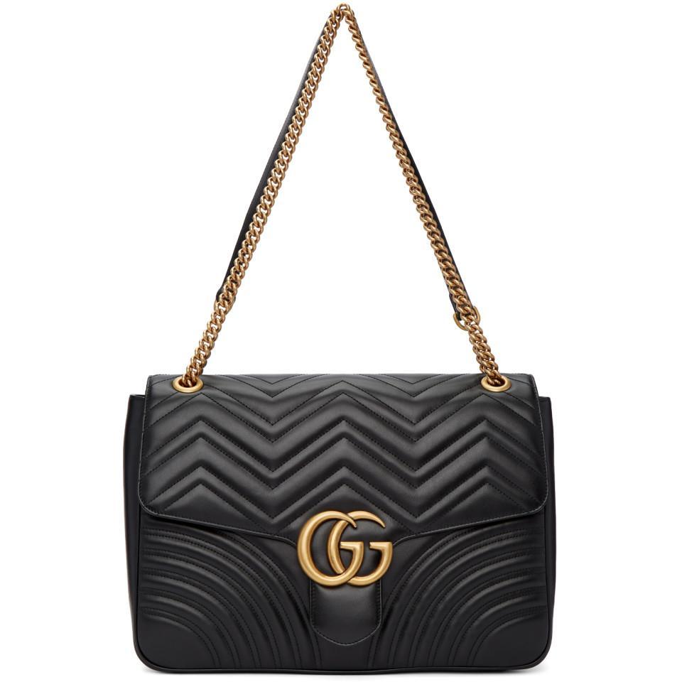 Gucci - Black Sac noir Large GG Marmont 2.0 - Lyst. Afficher en plein écran 73426c63abd