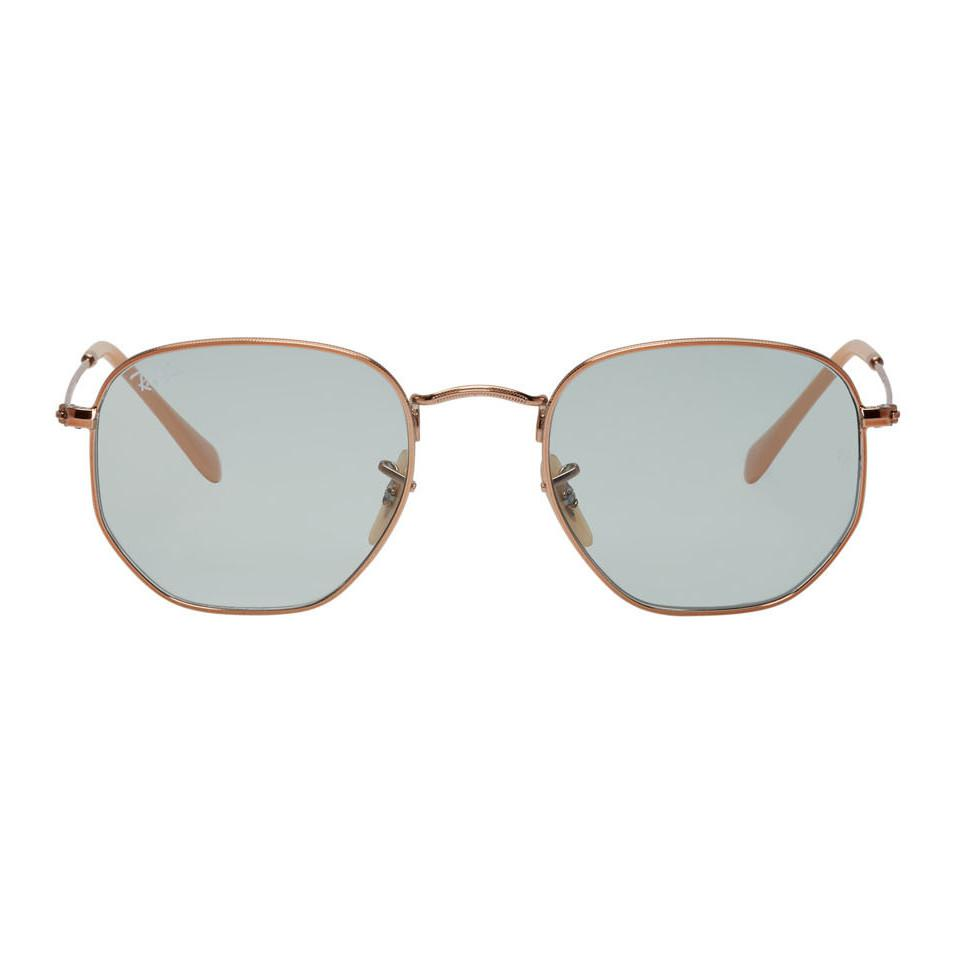 568661a4b65 Ray-Ban Copper And Blue Hexagonal Sunglasses for Men - Lyst