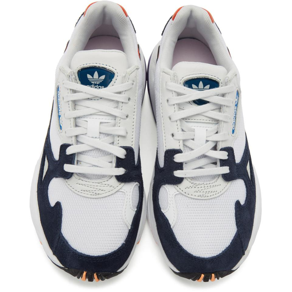 Lyst Adidas Originals White And Navy Falcon Sneakers In Blue