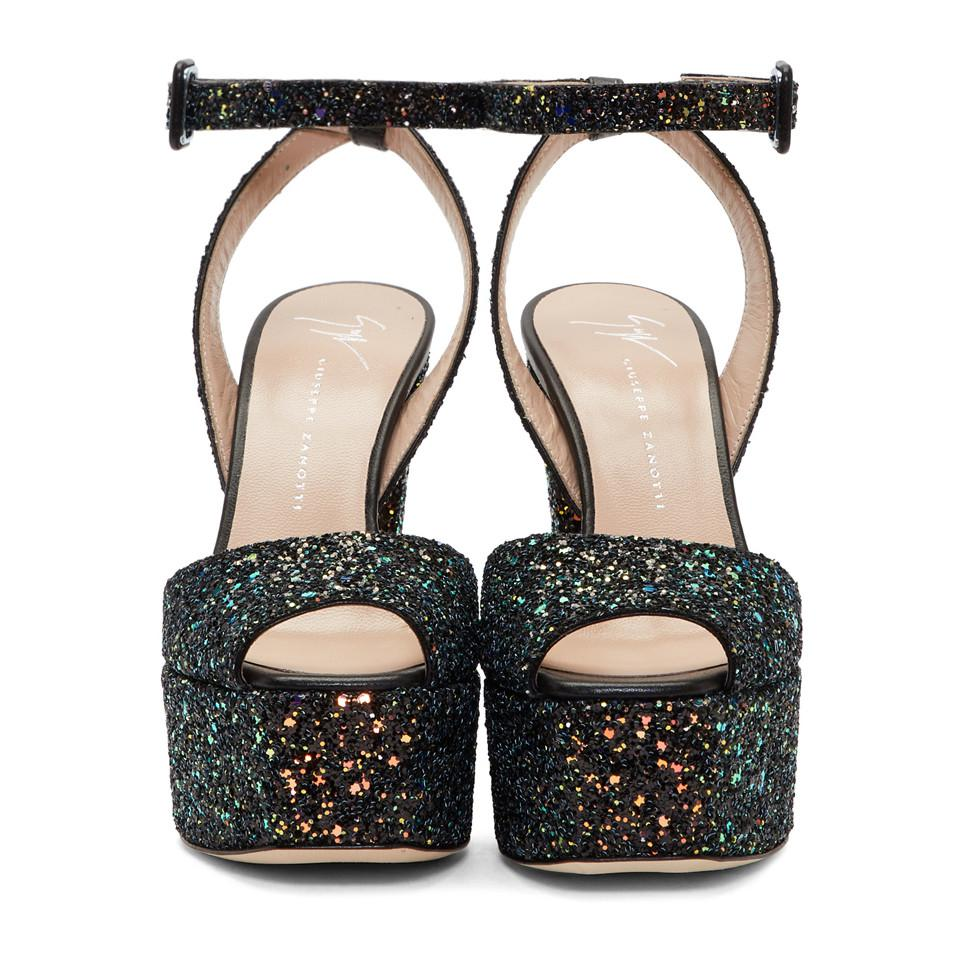80cbd2a0f31a0 Giuseppe Zanotti Ssense Exclusive Black Glitter Lavinia Platform ...