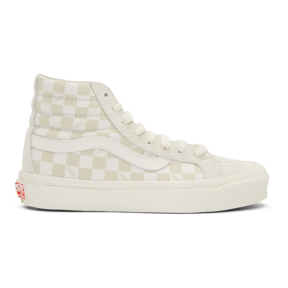Vans Beige & Off-White OG Sk8-Hi LX Sneakers s7U8M