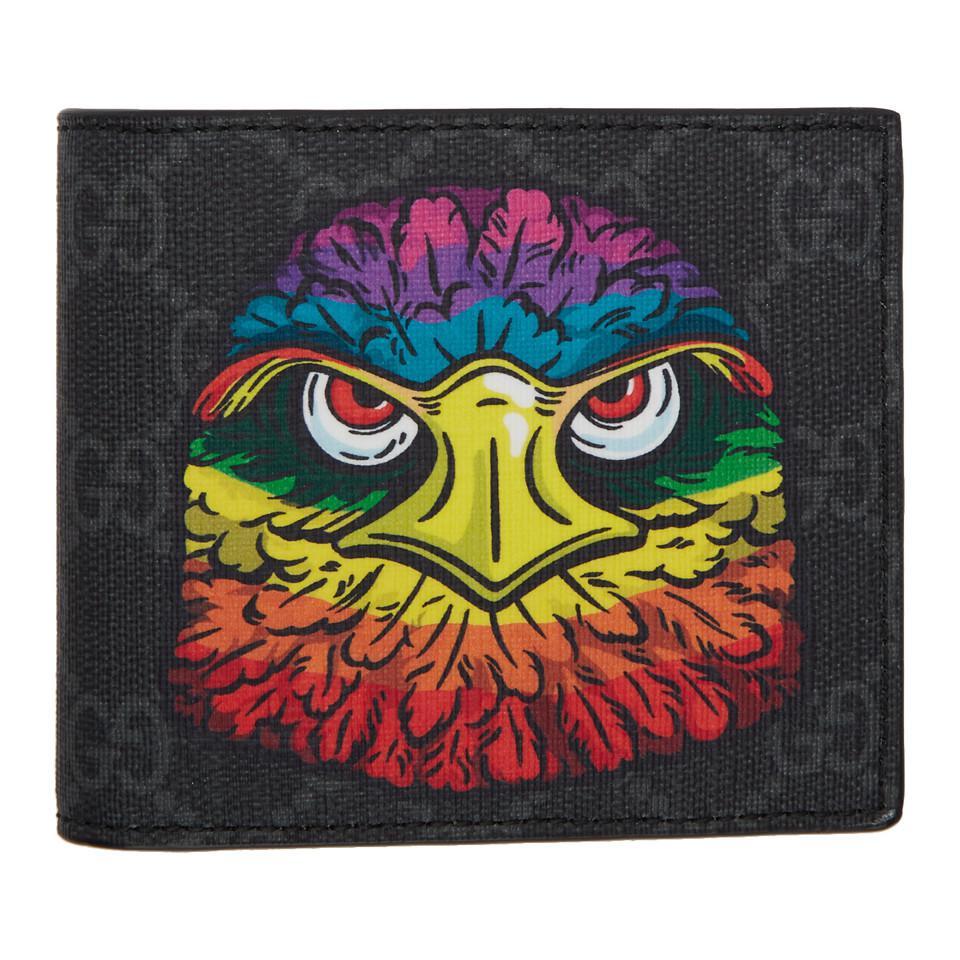 Lyst - Gucci GG Supreme Eagle Print Wallet in Black for Men dbc6545b023