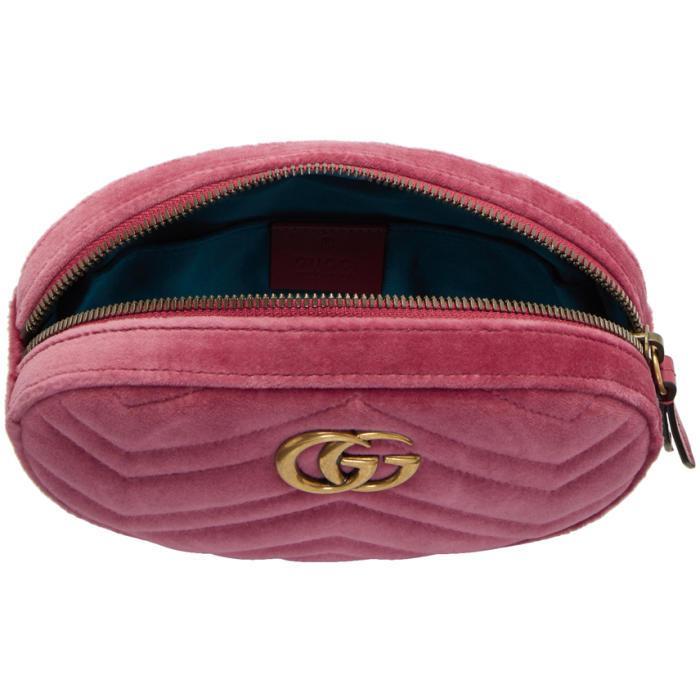 185e920d6 Gucci Pink Velvet Gg Marmont Matelassé Belt Bag in Pink - Lyst