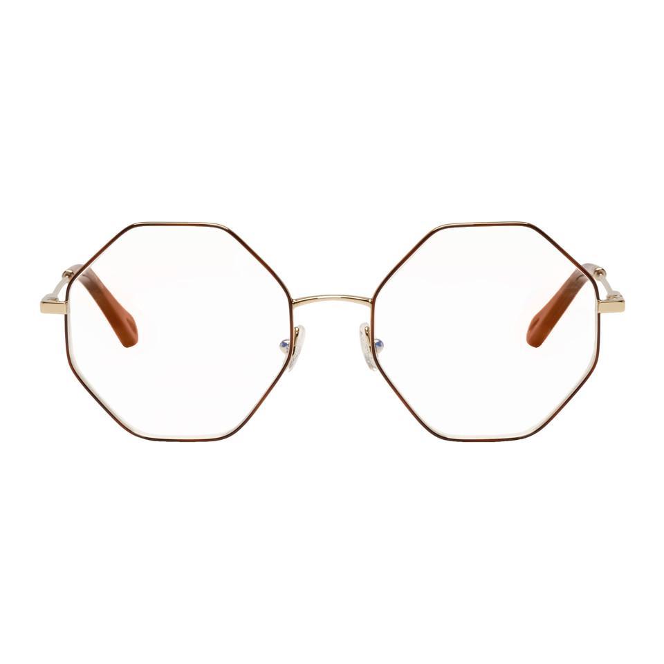 de08aaca344 Chloé womens gold and tortoiseshell palma glasses jpg 960x960 Chloe gold  optical frame