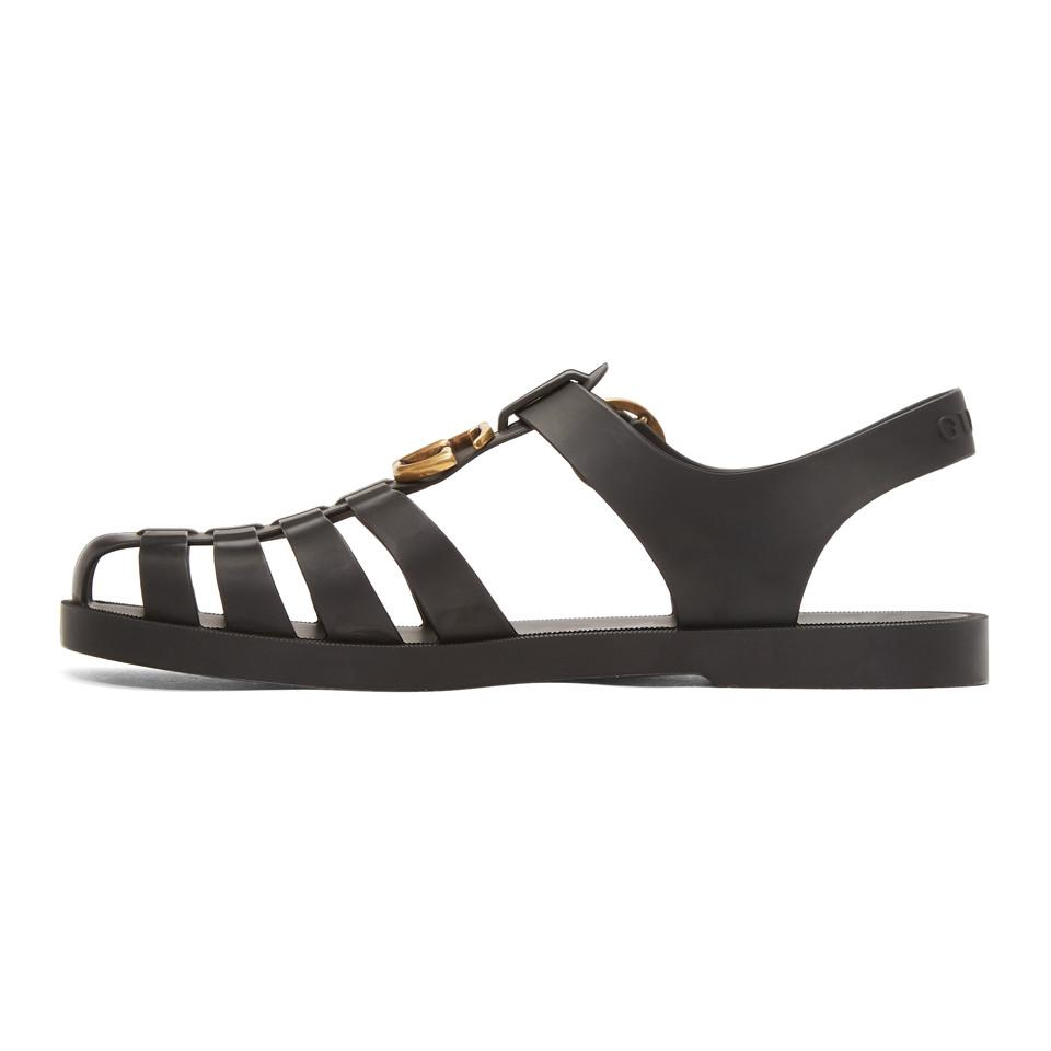 4ffb036151e4 Gucci Black Glossy Rubber Sandals in Black for Men - Save 15% - Lyst