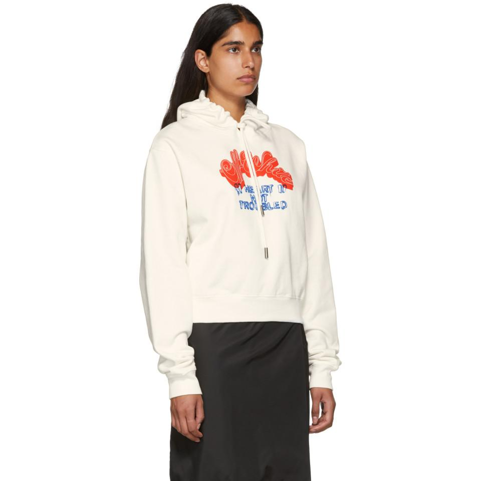 767dff0c490d02 Lyst - Off-White c o Virgil Abloh Heart Not Troub Hoodie in White