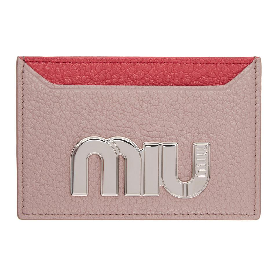 Pink Colorblock Big Logo Card Holder Miu Miu fNJsmx0W