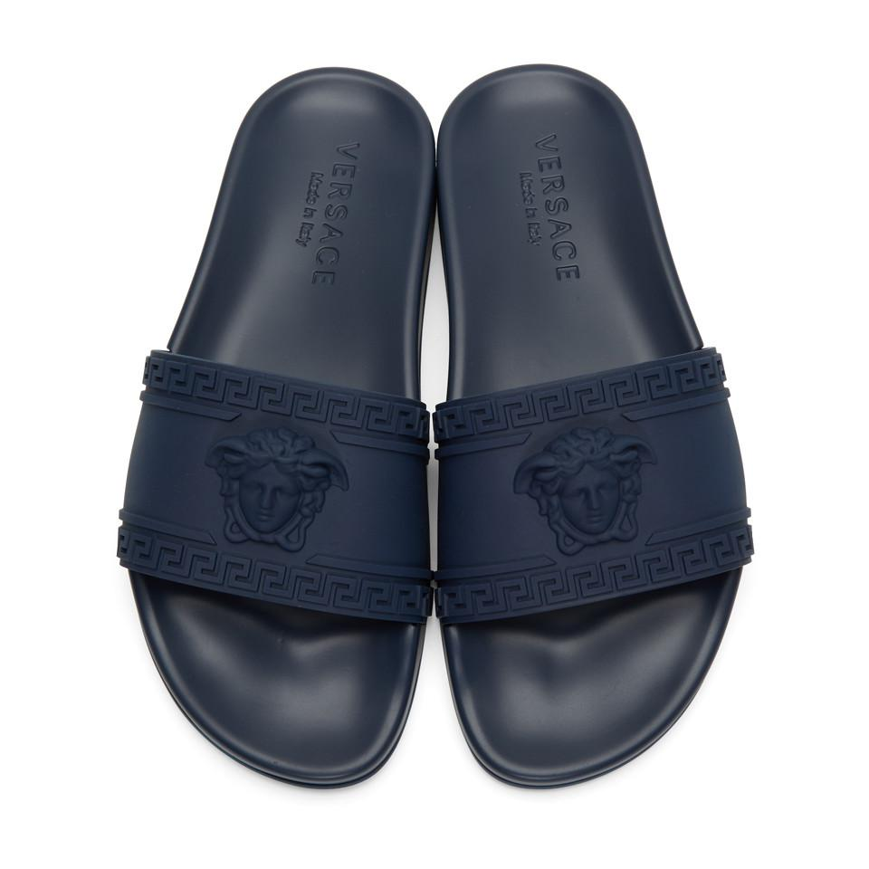 f25ef68cc7ac07 Lyst - Versace Navy Medusa Slide Sandals in Blue for Men