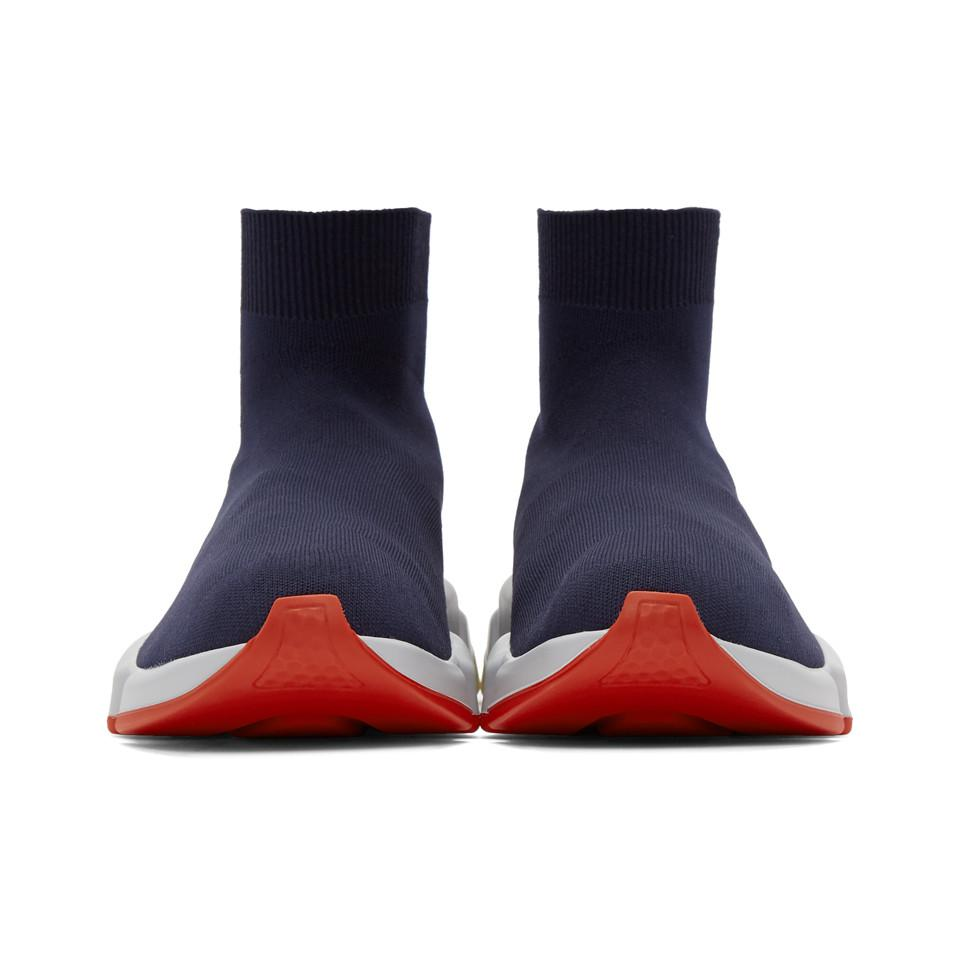 Balenciaga Navy Speed Runners High-Top Sneakers ABAvvB