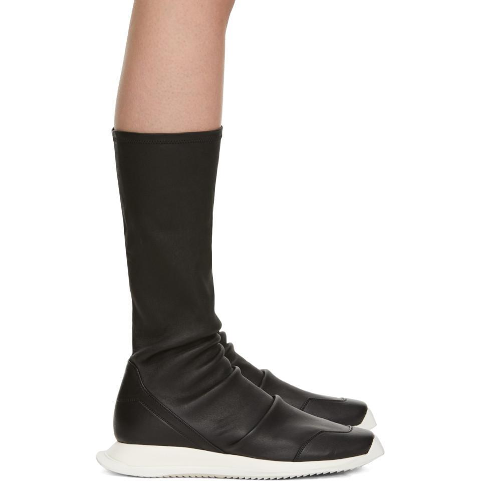 03eaf5123214 Lyst - Rick Owens Black Oblique Runner Sock Boots in Black