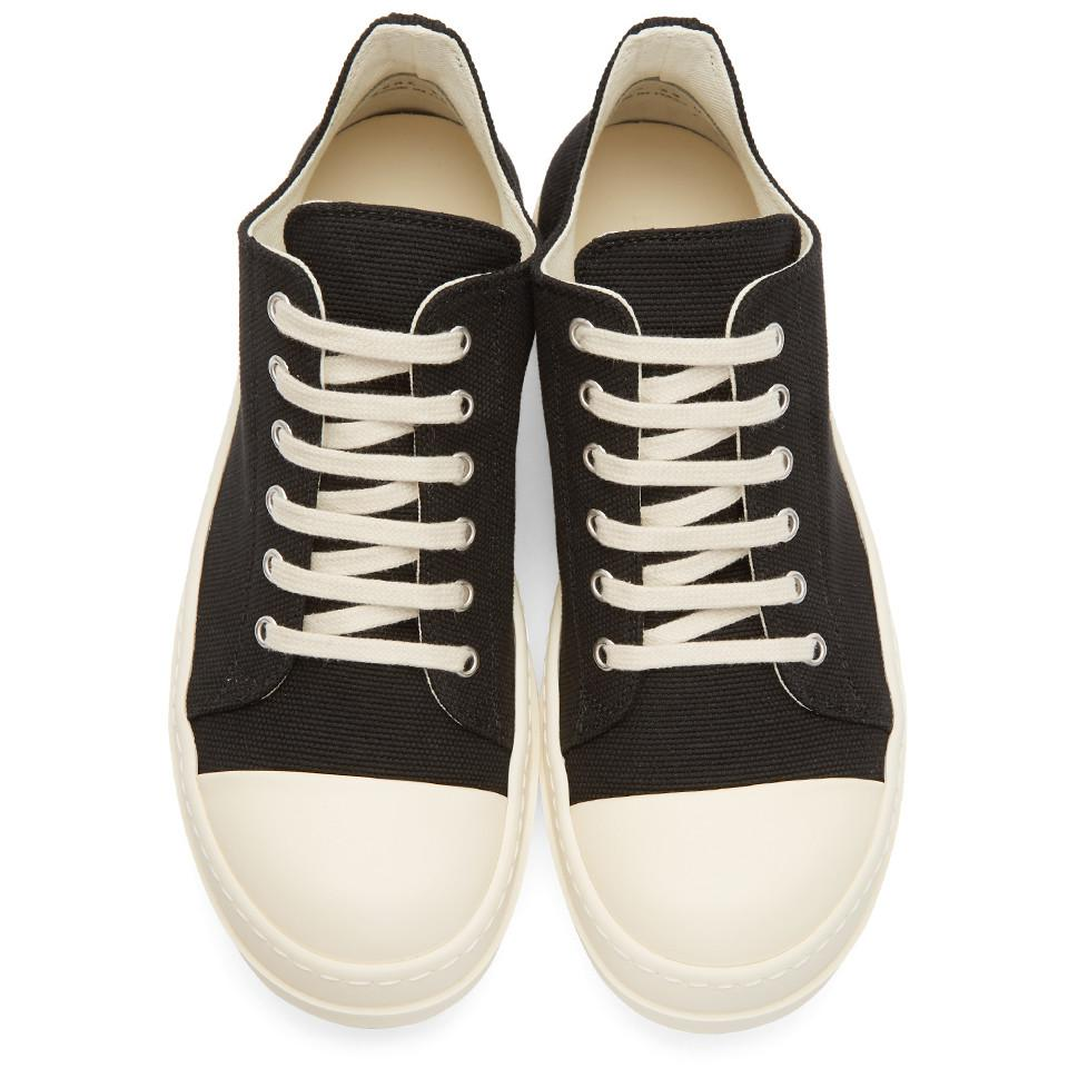 Black and Off-White Canvas Low Sneakers Rick Owens NGgkcu