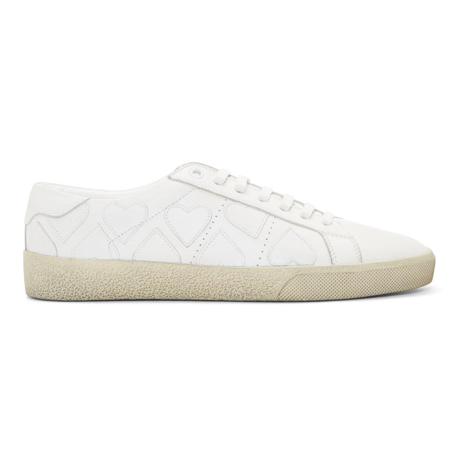 Court Classic heart-patch low-top leather trainers Saint Laurent JvgmY