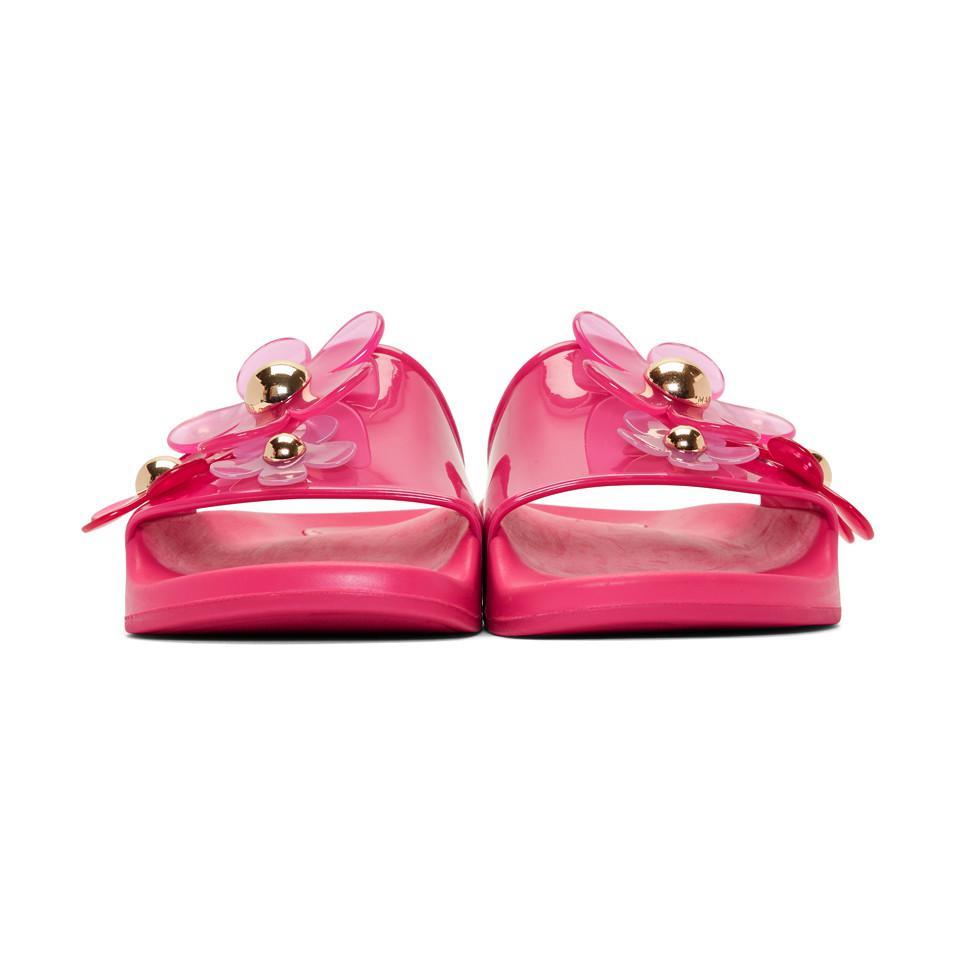 Faux Pas Cher En Ligne Sortie Basse Frais D'expédition Marc Jacobs Pink Daisy Aqua Slides laYs9Jb8D2