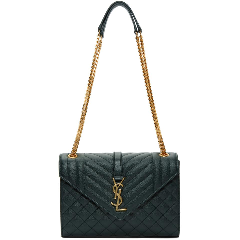 da37a58610279 Saint Laurent Green Medium Envelope Chain Bag in Green - Lyst