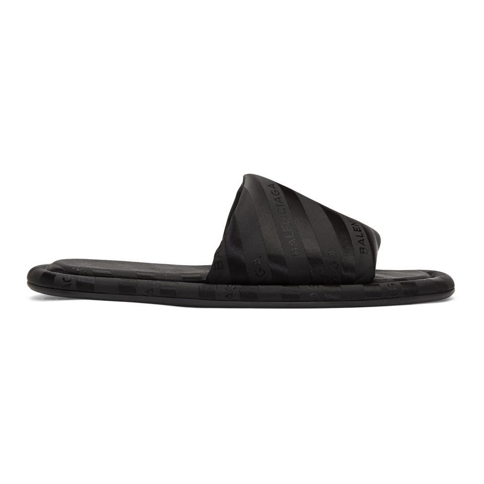 Balenciaga Black Jacquard All Over Logo Slides LTrKn0CM